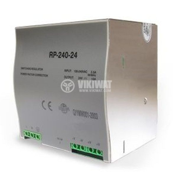 Switching power supply for DIN rail 24VDC, 10A, 240W, VDR240-24