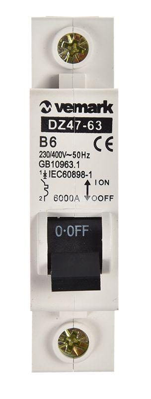 Предпазител DZ47-63, автоматичен, еднополюсен, 1x6A, B крива, DIN шина - 5