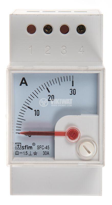 Амперметър SFC-45, 0 - 30 А, DC , еврошина-35 mm - 1
