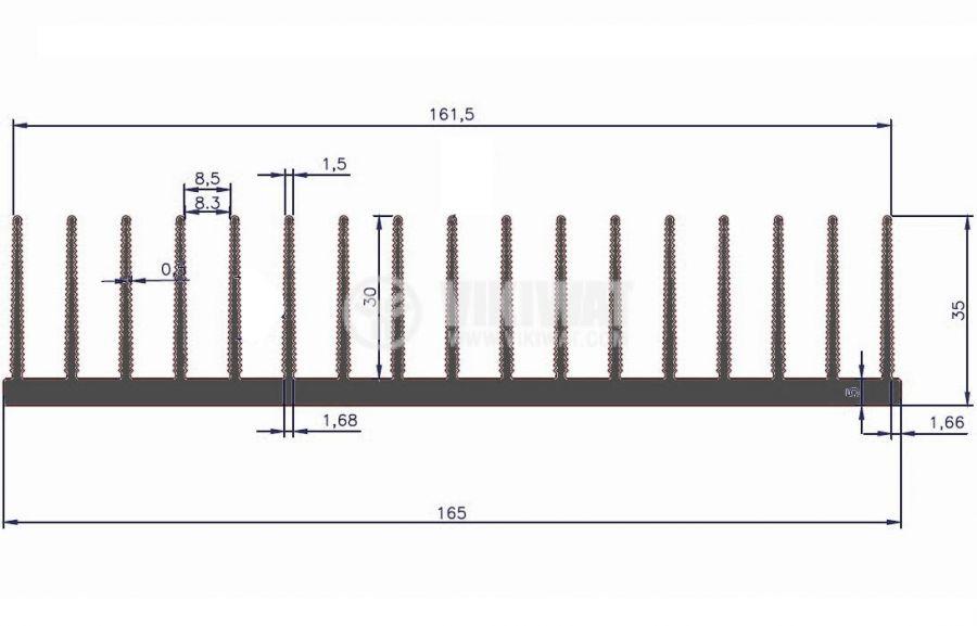 Aluminum cooling radiator profile 250mm 165x35x5 mm - 3