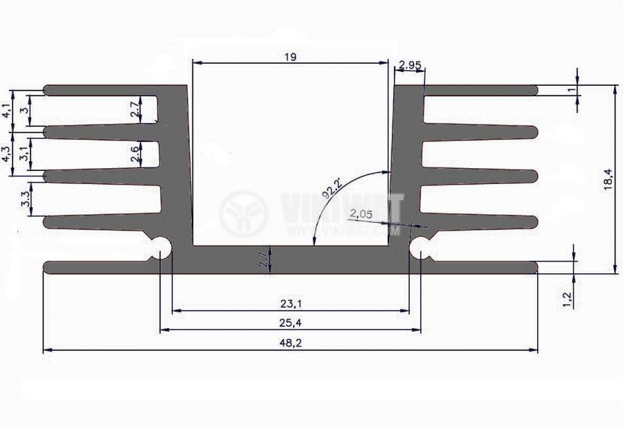 Алуминиев радиатор за охлаждане 250mm, 48.2x20mm