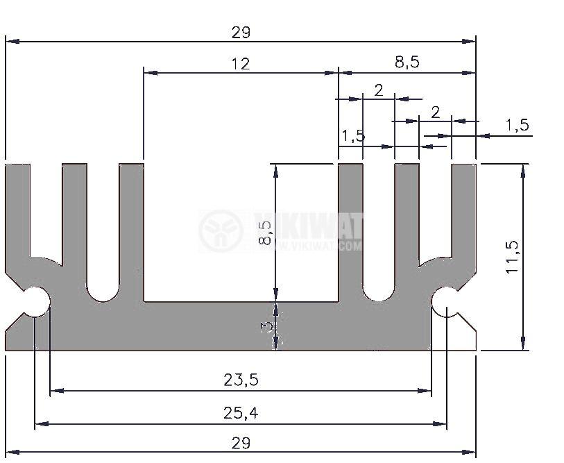 Алуминиев радиатор за охлаждане 250mm, 29x11.5mm - 3