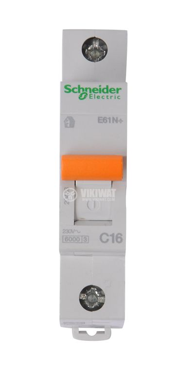 Предпазител автоматичен, еднополюсен, 1x16A, SCHNEIDER 20433, C крива, DIN шина - 2