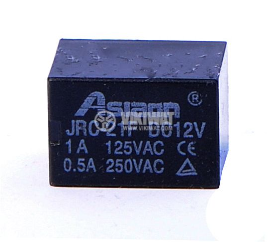 Реле електромагнитно, JRC-21F, 12VDC 250VAC/0.5A SPDT - NO+NC - 1