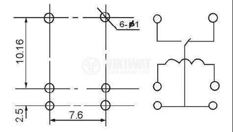 Реле електромагнитно, JRC-21F, 12VDC 250VAC/0.5A SPDT - NO+NC - 2