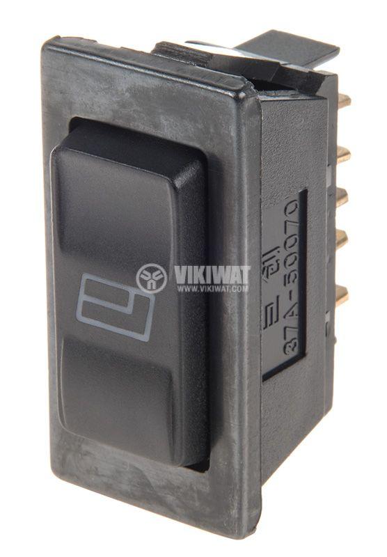 Rocker Switch, 3-position, (ON)-OFF-(ON), 20A/12VDC, hole size 38x19mm - 1