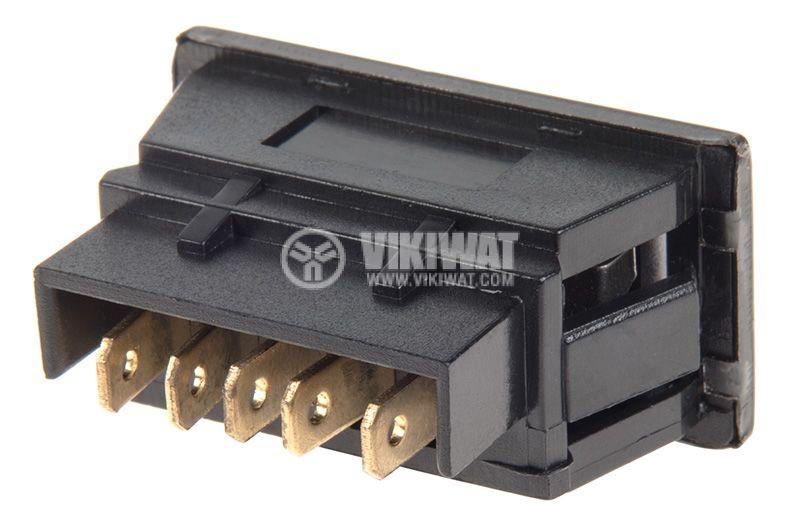 Rocker Switch, 3-position, (ON)-OFF-(ON), 20A/12VDC, hole size 38x19mm - 3