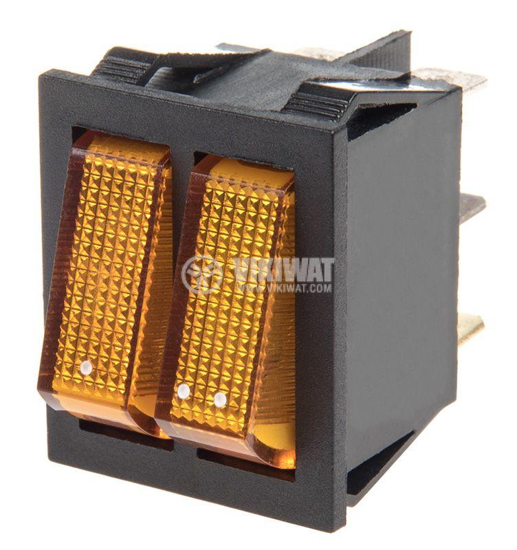 Клавишен превключвател, MK 321 A/N, 15A/250VAC, 2xSPST - 1