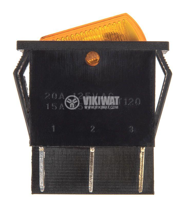 Rocker превключвател, 2x2 позиции, OFF-ON, 15A/250VAC, отвор 29x22mm - 2