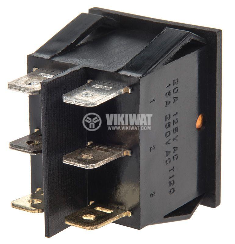 Rocker превключвател, 2x2 позиции, OFF-ON, 15A/250VAC, отвор 29x22mm - 3