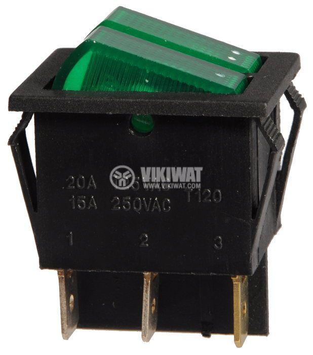Клавишен превключвател, MK 321 A/N, 15A/250VAC, 2xSPST - 4