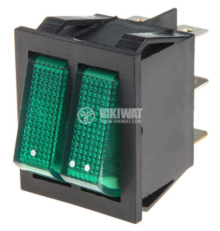 Rocker превключвател, 2x2 позиции, OFF-ON, 15A/250VAC, отвор 29x22mm - 1