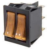 Rocker превключвател, 2x2 позиции, OFF-ON, 15A/250VAC, отвор 29x22mm