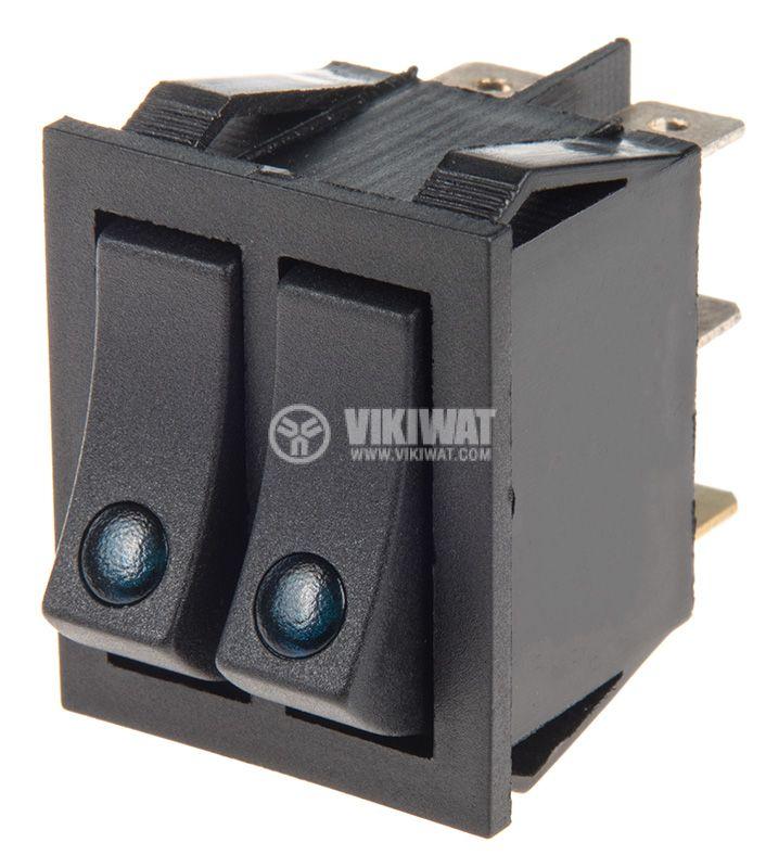 Rocker превключвател, 2x2 позиции, OFF-ON, 15A/250VAC, отвор 30x22mm - 1