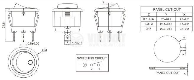 Клавишен превключвател rocker, 10A/250VAC, ON-OFF, SPDT, кръгъл, с червена лампичка - 4