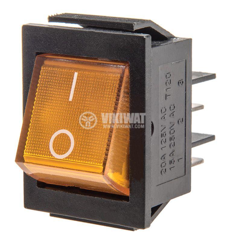 Rocker превключвател, 2 позиции, OFF-ON, 15A/250VAC, отвор 30x23mm - 1