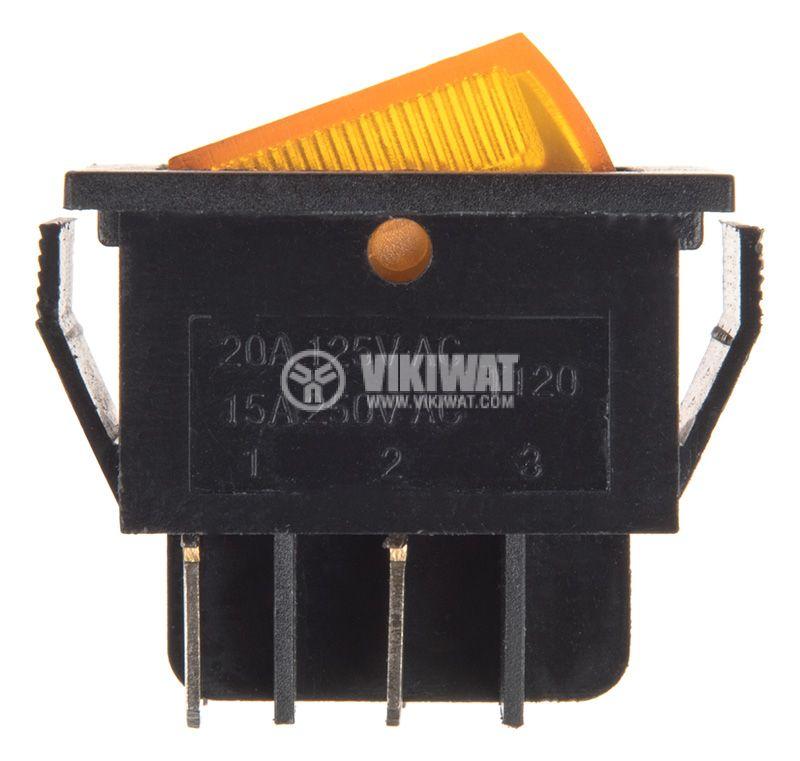 Rocker превключвател, 2 позиции, OFF-ON, 15A/250VAC, отвор 30x23mm - 2