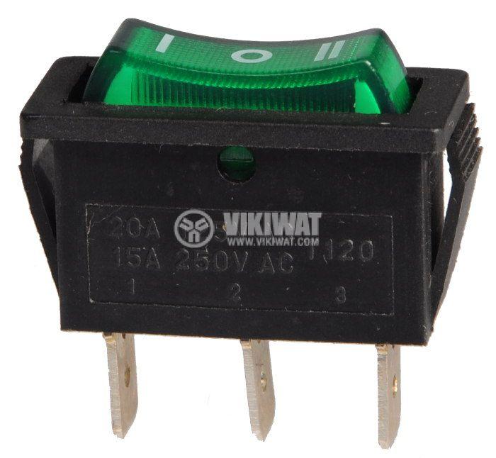 Клавишен превключвател, KCD3, 15A/250VAC, SP3T