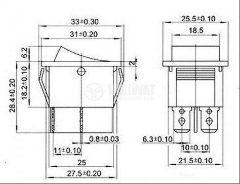 Клавишен превключвател rocker KCD2 ,16 A/250 VAC, 20 A/125 VAC, ON -OFF-ON,  DPDT, черен - 5