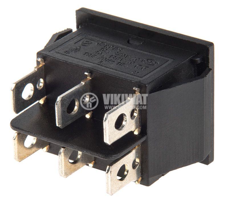 Rocker превключвател, 3 позиции, (ON)-OFF-(ON), 16A/250VAC, отвор 29x22mm - 4