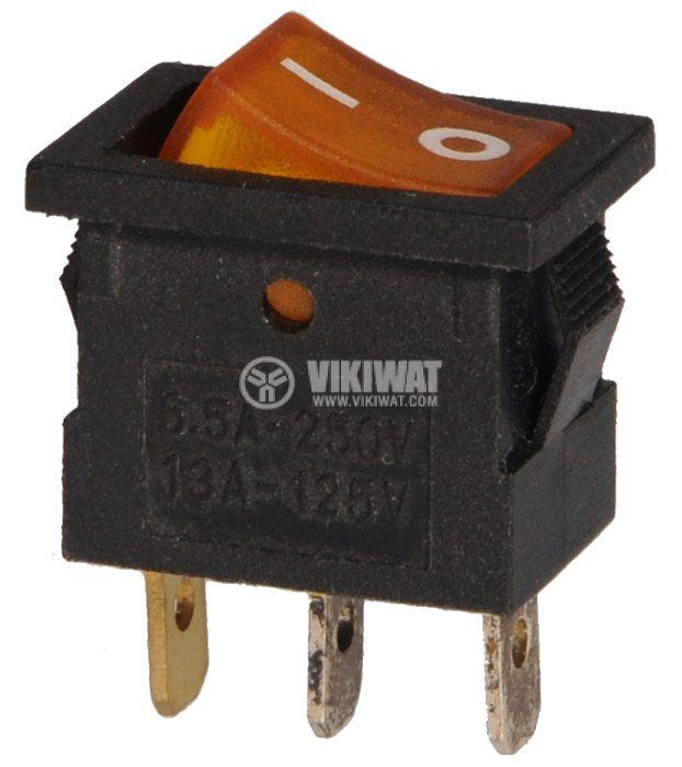 Клавишен превключвател, KCD1-B-101, 6.5A/250VAC, SPST