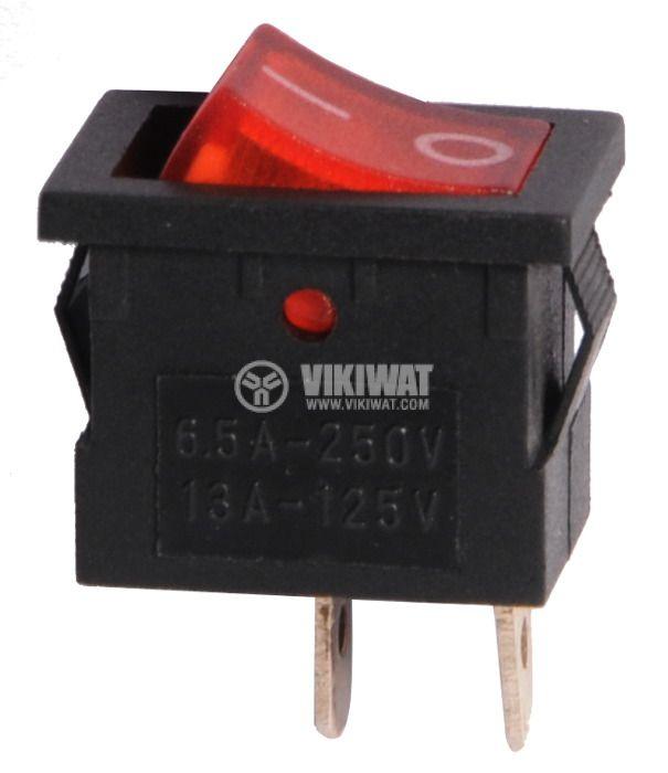 Клавишен превключвател, 6.5A/250VAC, SPST