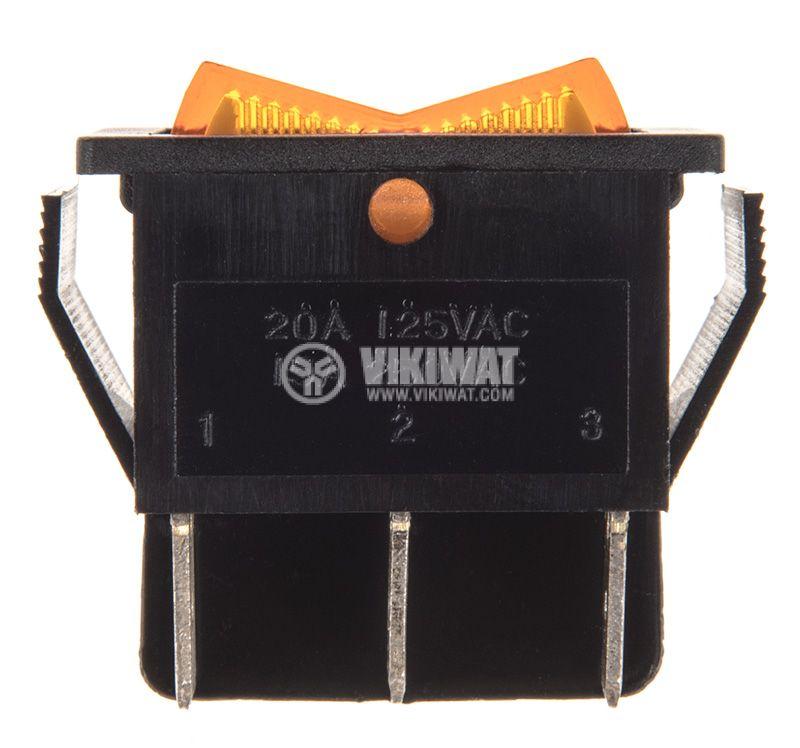 Rocker превключвател, 3 позиции, ON-OFF-ON, 15A/250VAC, отвор 28x22mm - 2