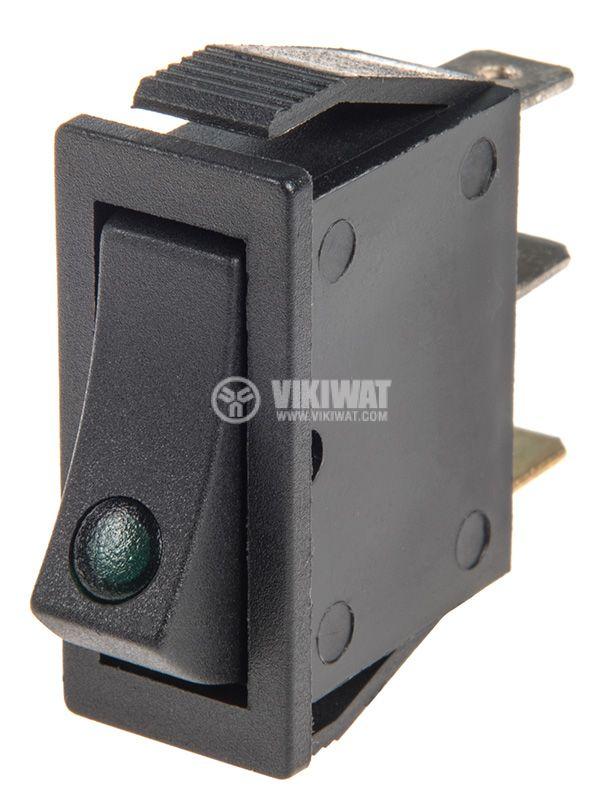 Rocker превключвател, 2 позиции, OFF-ON, 15A/250VAC, отвор 29x11mm - 1