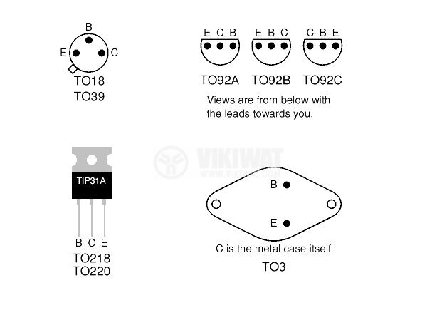 Транзистор BC547C, NPN, 50 V, 0.1 A, 0.5 W, 300 MHz, TO92C - 2