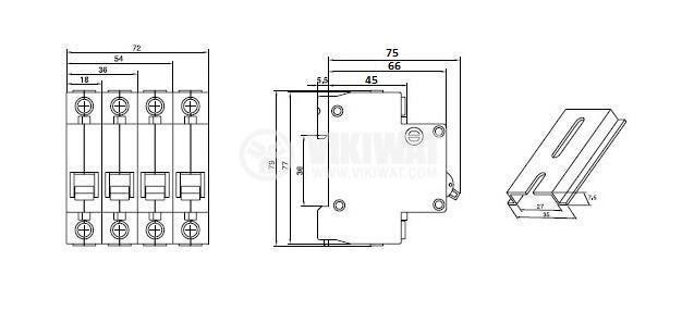 Предпазител автоматичен, четириполюсен, 4x16A, DZ47-63, C крива, DIN шина - 3