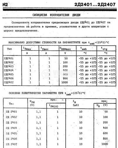 Изправителен диод 2D2401, 50 V, 1 A - 2