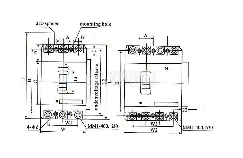 Автоматичен прекъсвач, АM1-400L, 3P, 315 А, 400 VAC - 6
