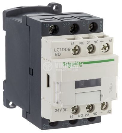 Contactor, three-phase, LC1D09BD, coil  24VDC, 3PST - 3NO, 9A, NO+NC