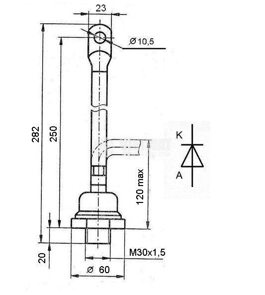 Rectifier Power Diode VL320-10, 1000 V, 320 A - 2
