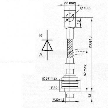 Диод  D161-250-8, 800 V, 250 A, изправителен, мощен - 2