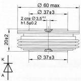 Диод  D143-800-24, 2400 V, 800 A, изправителен, мощен, тип-таблетка - 2