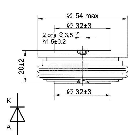 Rectifier Power Diode D133-400-24, 2400 V, 400 A - 2