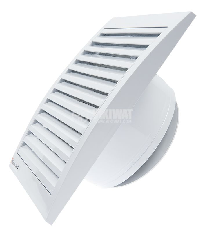 Bathroom fan, Ф100mm with valve, 220VAC, 16W, 60m3 / h, MM100 with internal rotor, square, white - 2
