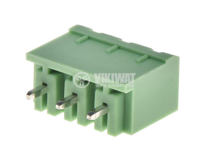 PCB терминален блок, с изолационни прегради, 3 пина, 15А, за печатен монтаж - 1