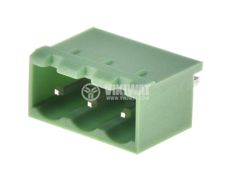PCB терминален блок, с изолационни прегради, 3 пина, 15А, за печатен монтаж - 2