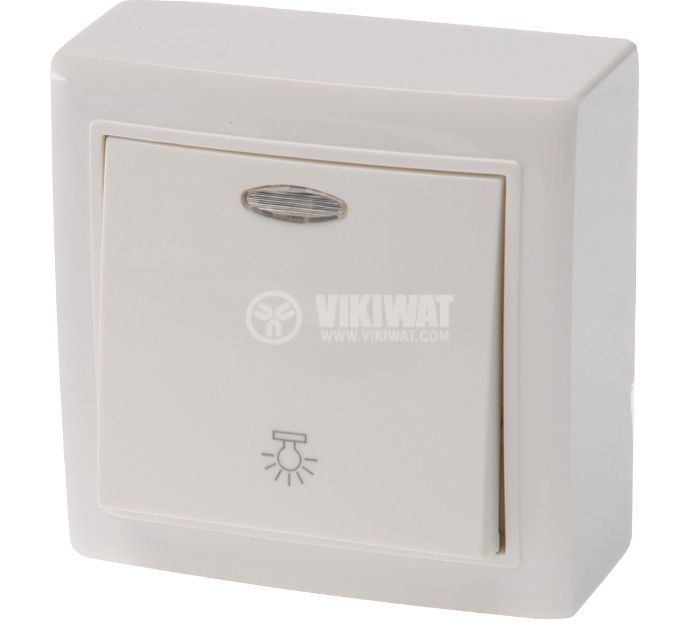 SIngle electrical switch, 250 V/AC, 10 A, white, MI-RBLD, surface mount