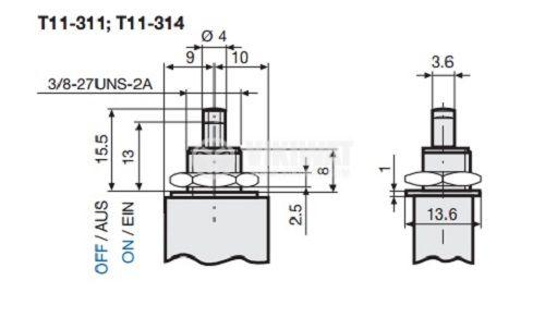 Resettable Thermal Circuit Breaker  T11-311-4A 240 VAC, 48 VDC  - 2