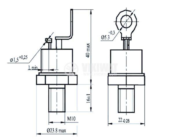 Тиристор T142-63-8, 800 V, 63 A - 2