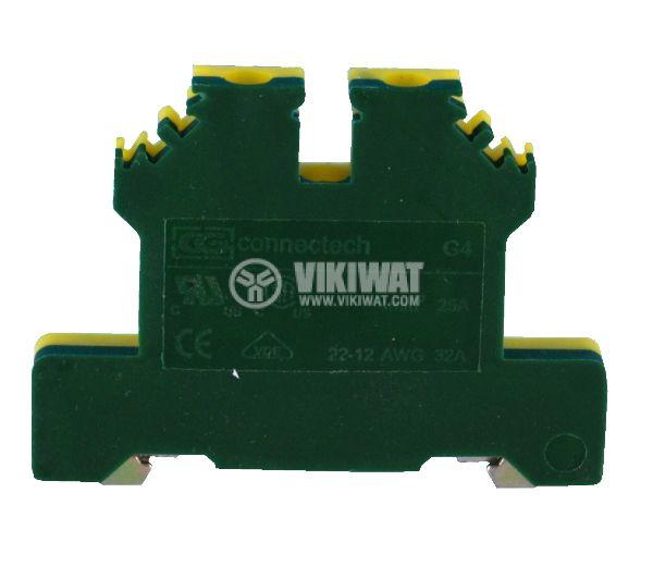 Редова клема, едноредова, G4, 2.5mm2, жълто-зелена, заземителна - 1