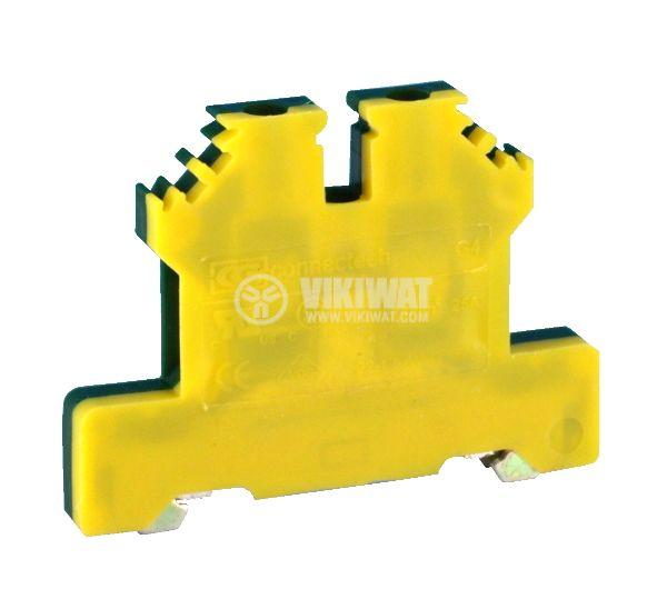 Редова клема, едноредова, G4, 2.5mm2, жълто-зелена, заземителна - 2