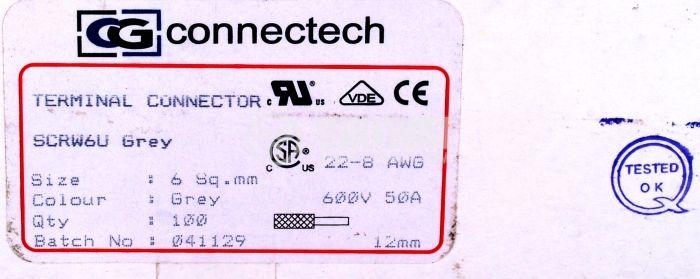 Редова клема, едноредова, SCRW 6U, 6mm2, 50A, 600V, сива - 3