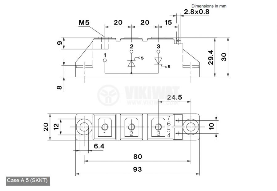 Тиристорен блок SKKT26/06, 600 V, 26 A - 2