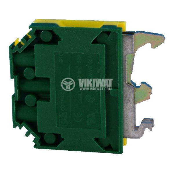 Редова клема, едноредова, G10, 10mm2, жълто-зелена, заземителна - 1