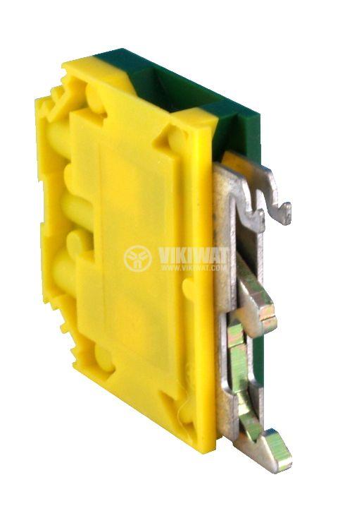 Редова клема, едноредова, G10, 10mm2, жълто-зелена, заземителна - 2