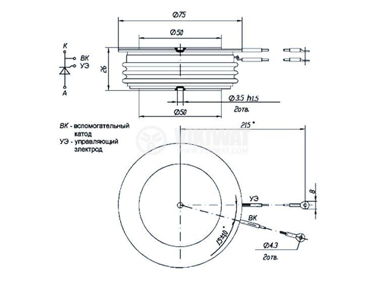 Тиристор T153-630-20, 2000 V, 630 A - 2